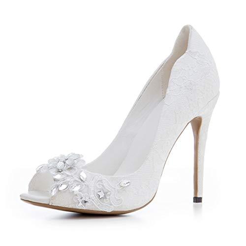 HRCxue Pumps Weiße hochhackige Hochzeitsschuhe weiße Spitze hochhackige Spitze Stiletto Wasserdichte Plattform