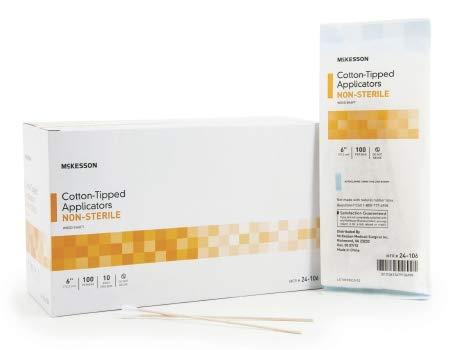 24611210 Swabstick McKesson Cotton Tip Wood Shaft 6 Inch NonSterile 100 per Pack