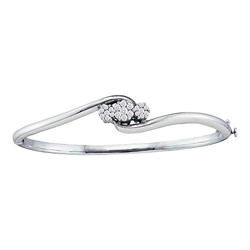 Mia Diamonds 14kt White Gold Womens Round Diamond Triple Flower Cluster Bangle Bracelet (.51cttw) (I1-I2)