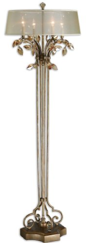 d Floor Lamp with Burnished Gold Metal With Golden Teak Crystal Leaf Accents ()