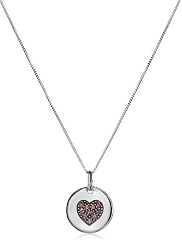 "Sterling Silver June Birthstone Crystal Heart Medallion Pendant Necklace, 18"""