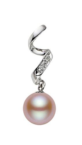 14K Or Blanc Perle de culture d'eau douce Rose de qualité AAA diamant pendentif
