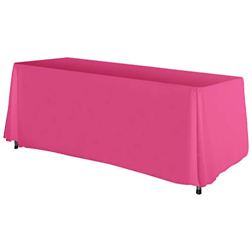 (ABCCANOPY 6 FT Rectangle Tablecloth Table Cover for Rectangular Tables in Washable Polyester-Great for Buffet Table, Parties, Holiday Dinner, Wedding & More(Hot Pink))