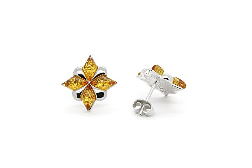 925 Sterling Silver Stud Amber Earrings North Star with Genuine Natural Baltic Honey Amber.