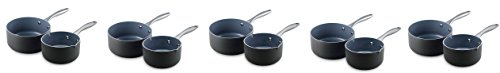 GreenPan Lima 1QT and 2QT Ceramic Non-Stick Saucepan Set (5-Pack)