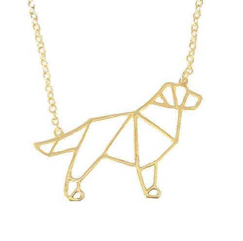 (Altitude Boutique Golden Retriever Necklace, Dog Pendant Necklace, Origami Geometric Jewelry (Gold) )