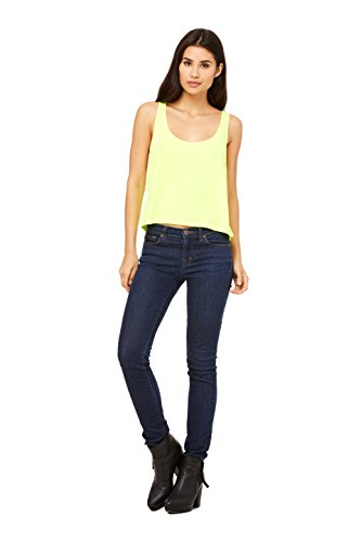 Boxy Fashion (Bella + Canvas Ladies Flowy Boxy Tank (Neon Yellow) (Small))