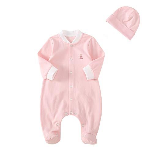 pureborn Newborn Baby Girls' 2-Piece Cartoon Cat Footie&Cap Set,100% Cotton Overalls Pink Newborn