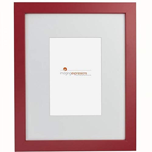 (Imaging Expressions - Red Picture Frame 8x10 - Thick Beveled Mat to Display 4x6 Photos - Wall Hanging or Sturdy Easel for Tabletop Display - Made in The USA (8x10)