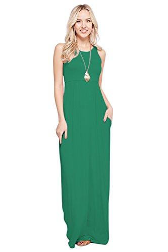 Sportoli Maxi Dresses for Women Solid Lightweight Long Racerback Sleeveless W/Pocket -Jade (Dressy Jeans For Women)