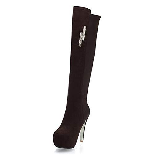 Brown US8   EU39   UK6   CN39 Brown US8   EU39   UK6   CN39 Women's Fashion Boots PU Spring Summer Boots Stiletto Heel Knee High Boots Brown Red   Almond