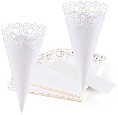 GWHOLE 100 piezas Conos Papel Arroz Boda Blanco Diseño de Corazón Hueco Cucuruchos Pétalos Confeti Decoración Boda con Cinta Adhesiva Doble
