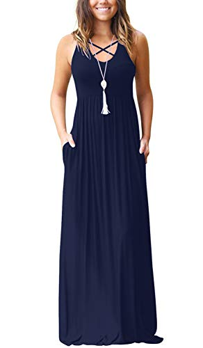 Women's Sleeveless Racerback Loose Plain Maxi Dresses Casual High Waisted Long Dresses with Pockets Navy Blue Large