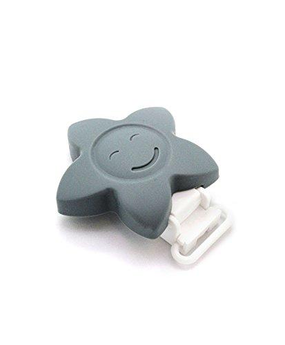 RUBY - 1 Pinzas de Silicona Clips Estrella Pinzas de Chupete para Niños Bebés. ENVÍOS Desde ESPAÑA (Gris)