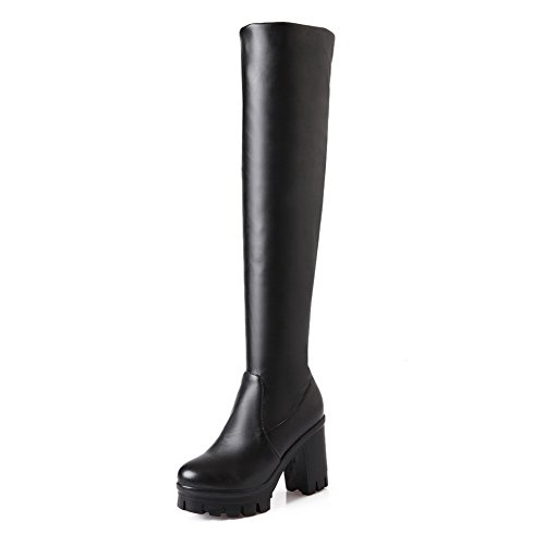 BalaMasa Womens Pull-On Platform Chunky Heels Imitated Leather Boots Black Pj9kztOX3W