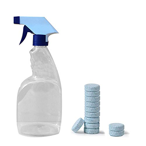 Liecho Multifunctional Effervescent Spray Cleaner Set with Bottle for Car Auto Windshield Washer Fluids Glass Cleaner Tablets Detergent(12pcs with Bottle)