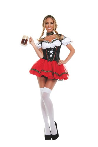 Starline Sexy Frisky Beer Girl Women's Costume Set, Black/Red, X-Large (Sexy Beer Maiden Costume)