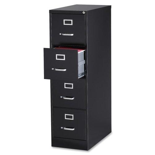 Lorell Commercial Grade Blk Letter Size Vert Files-Vertical File Cabinet, 4DR, LTR, 15''X28-1/2'',52'', BK