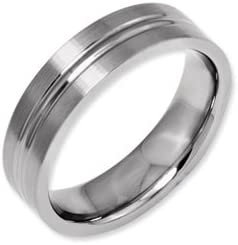 Titanium Grooved 6mm Brushed And Polished Band Best Quality Free Gift Box