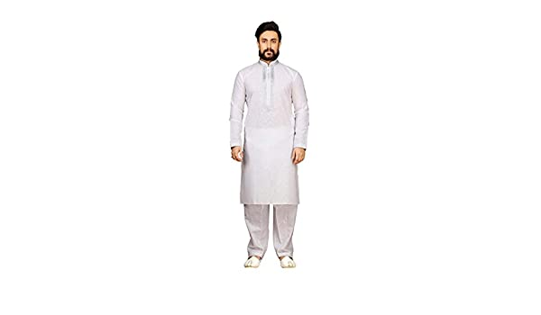 Da Facioun Mens Kurta Pajama Wedding Cotton Linen Off White India Partywear Pathani Set