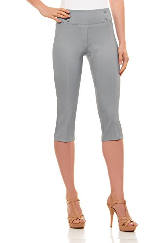 Velucci Womens Classic Fit Capri Pants - Comfortable Pull On Style with Detailed Design, Light Grey-L