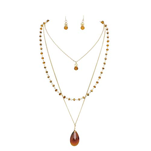 Bocar 3 Layer Jewelry Set Long Chain Pendant Bead Necklace Earring for Women (NK-10036-brown) (Brown Earrings Chain)