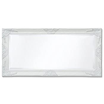 """BLXCOMUS White Bathroom Wall Mount Standing Mirror Holder,Baroque Style Wall Mirror 39.4""""x19.7"""",With Four Mounting Hooks"""