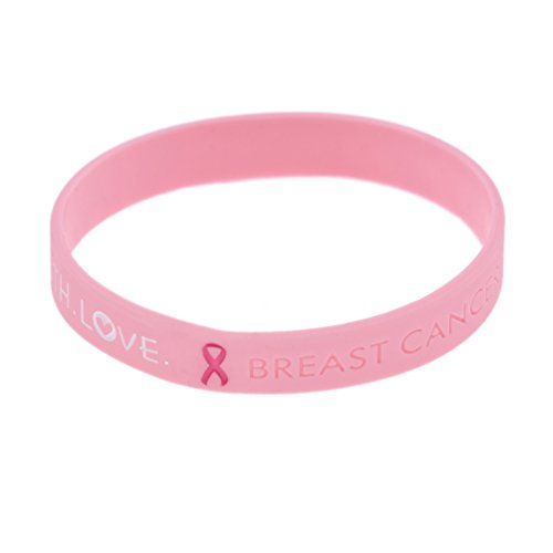 (lychee Breast Cancer Awareness Silicone Bracelet Pink Sport Running Wristband Gift)