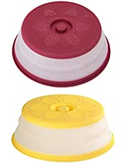 SOLUSTRE 2pcs Vented Collapsible Microwave Splatter Cover for Food Microwavable Guard Lid for Plate Dish Containers Drainer Basket Dishwasher Safe