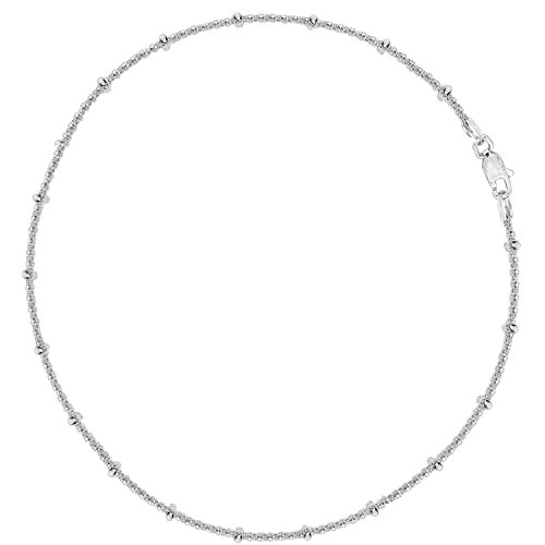 Sterling Silver Station Bead Popcorn Chain Anklet 10