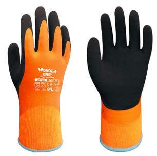 Wonder Grip: WG-338 Thermo Plus Safety Gloves, Heavy Duty and Water Reistant, Double Latex Back Coating, For Wet or Cold Environment