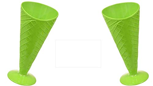 Waffle Ice Cream Bowl - Rootbeer Float and Milkshake Glasses (Green 2 Pack) Must Have Dessert Bowls and Colorful Fun Ice Cream Sundae Waffle Cone Cup - Ice Cream Cups