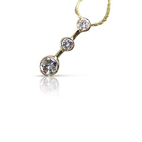 - Milano Jewelers 1CTW BEZEL DIAMOND 14K GOLD PAST PRESENT FUTURE 3 STONE PENDANT 18