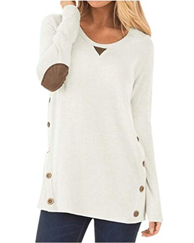 Amylover Womens Long Sleeve Tops Crew Neck Casual Loose Button Blouse Tunic Tops