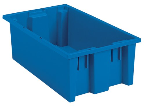 Akro-Mils 35185 Nest and Stack Plastic Storage and Distribution Tote, 18-Inch L by 11-Inch W by 9-Inch H, Blue, Case of 6