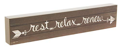 Rest Relax Renew Decorative Sign - MDF Wood Block 12''x2.5'' by Blossom Bucket