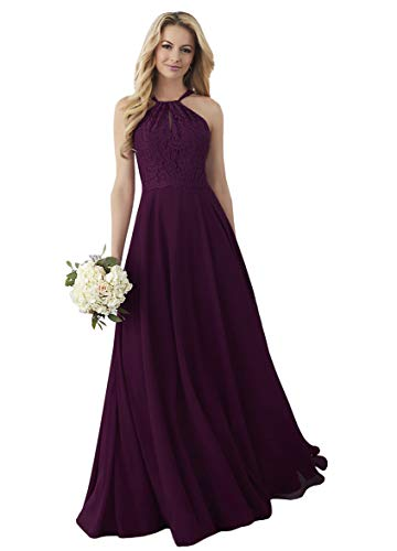 Women's Chiffon Bridesmaid Maxi Dress Lace Top Cutout Back Evening Party Gown Plum,16