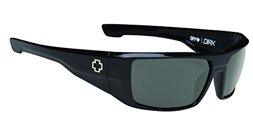 Spy Optic Dirk Polarized Wrap Sunglasses, Black/Happy Gray/Green Polar, 64 - Optic Sunglasses Spy Dirk