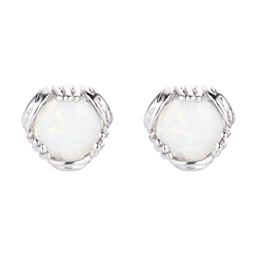 Round Stud Earrings 925 Sterling Silver Big White Opal Finger Shape Stud Earring Silver around white Opal