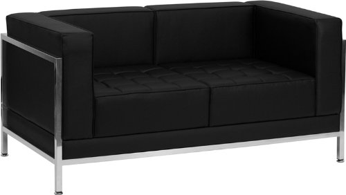 Flash Furniture Hercules Imagination Series Contemporary Black Leather Love Seat with Encasing Frame