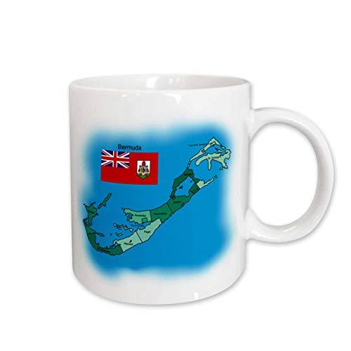 Bermuda Mug - 3dRose Flag and Map of The British Territory of Bermuda and All Parishes, Ceramic Mug, 15-Oz