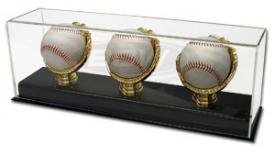 BCW Deluxe Acrylic Triple Gold Glove Baseball Display - Acrylic Base - (Baseball Display Case Gold Glove)