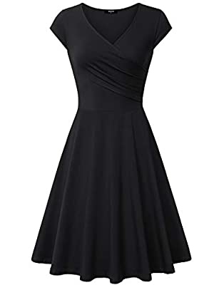 Lotusmile Casual Dress,Womens Elegant Dress A Line Cap Sleeve V Neck