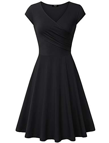 - Lotusmile Graduation Dress, Women Sexy Cocktail Vintage Business Affordable Dress,Large All Black