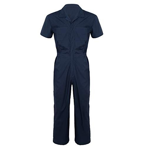 Agoky Men's Speedsuit Coverall Workwear Boilersuit Work Suit Overalls Pants Jumpsuits Navy Blue X-Large
