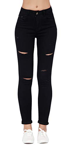 (Women's Hight Waisted Butt Lift Stretch Ripped Skinny Jeans Distressed Denim Pants (US 8, Black 16))