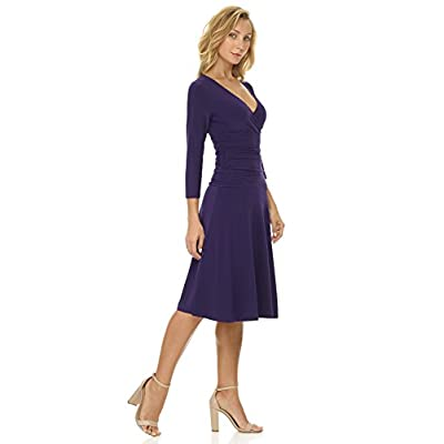 Rekucci Women's Slimming 3/4 Sleeve Fit-and-Flare Crossover Tummy Control Dress at Women's Clothing store