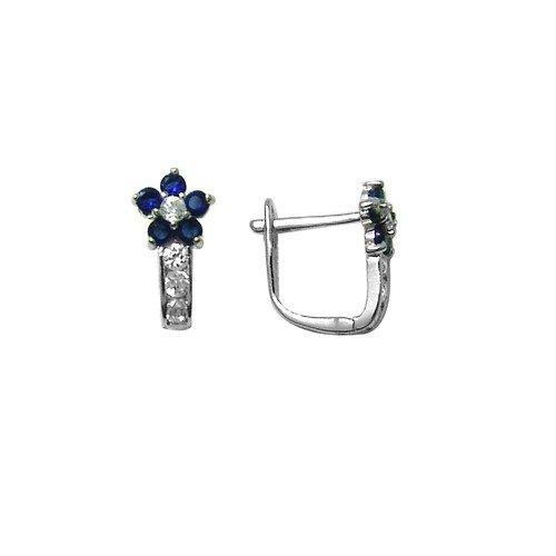 Flowering Dark Blue CZ & CZ Star .925 Sterling Silver Huggie Earrings