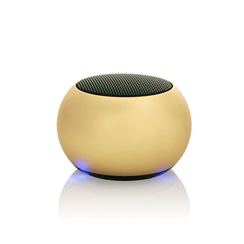 My Heavy Metal Solo Mini Wireless Bluetooth Speakers – Powerful Sound - Use 1 or link 2 together for True Wireless Stereo (TWS) Technology – Sold individually (Gold)