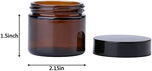 - Envases Cosm/éticos Vac/íos con Forros Interiores THETIS Frascos de Vidrio Redondos de 60ml 6 Paquete de Tapas Negras y Frascos de Muestras de Vidrio con Etiquetas(Amber)